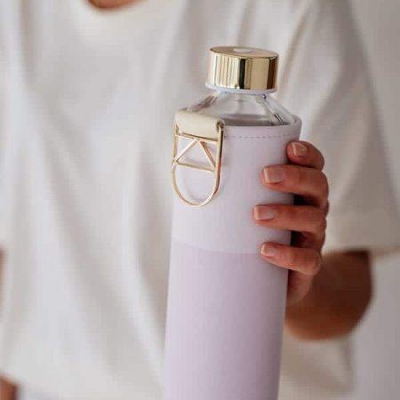 EQUA garrafa reutilizável vidro lila 1